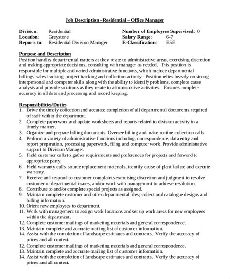 office administrator description 28 images sle office manager description 9 exles in pdf