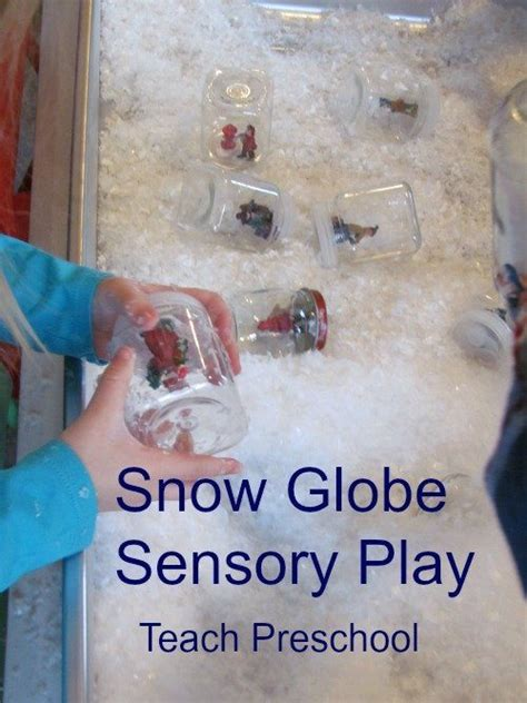 snow globe sensory play in preschool