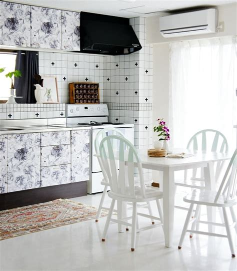 removable wallpaper for kitchen cabinets beautiful solutions for hiding eyesores in rentals