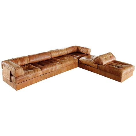 cognac leather sectional de sede ds88 sectional sofa in cognac leather for sale at