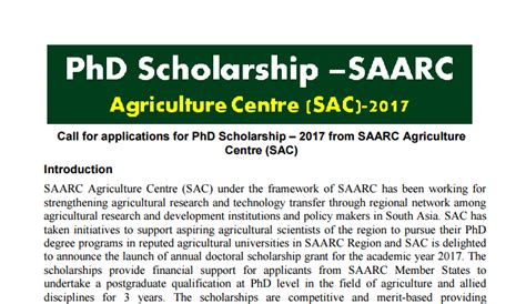Mba Agribusiness Scholarships by Applications For Phd Scholarship From Saarc Agriculture