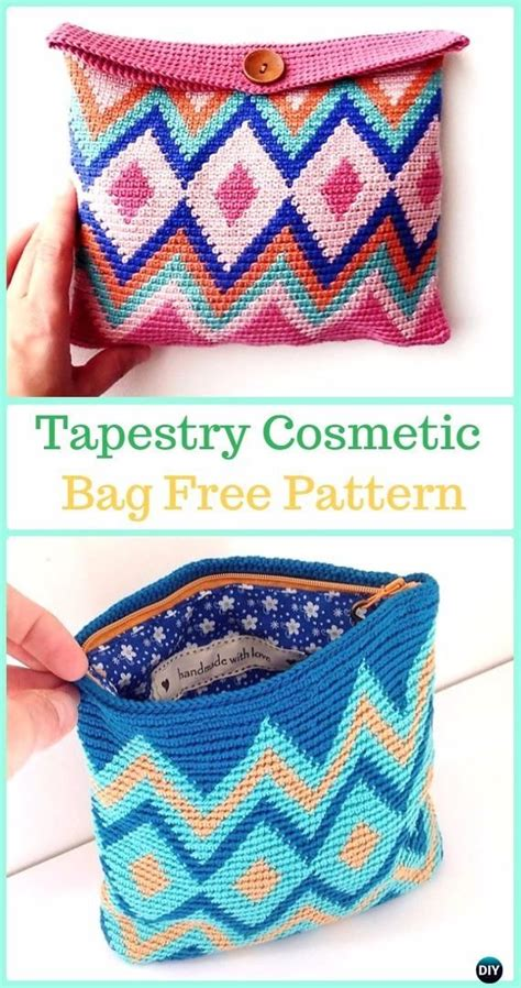 crochet toiletry bag pattern tapestry cosmetic bag free pattern tapestry crochet free