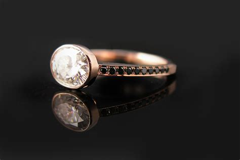 Custom Rose Gold Oval Engagement Ring Black Diamonds