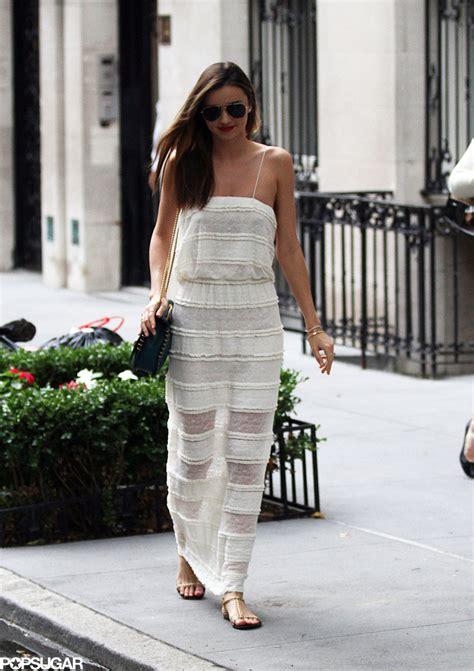 Maxi White Miranda miranda kerr wore a sheer white maxi dress while out in