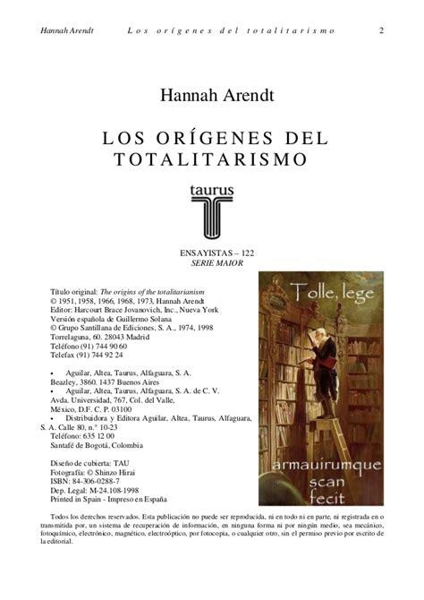 los origenes del totalitarismo los origenes del totalitarismo hanna arendt