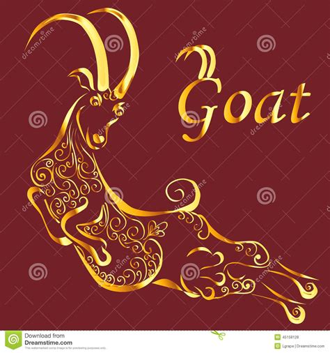 new year gold goat gold silhouette of goat stock vector image 45158128