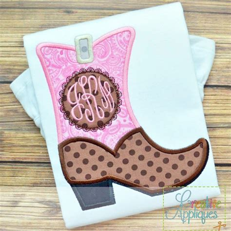 embroidery applique design monogram boot applique creative appliques
