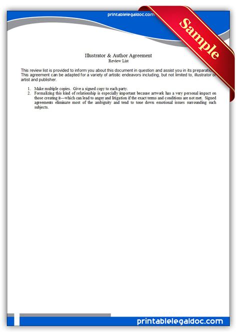 Free Printable Illustrator Author Agreement Form Generic Author Illustrator Contract Template