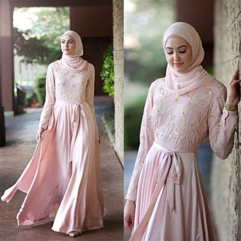 Maxi Dress Muslim Pink pastel pink maxi dress look