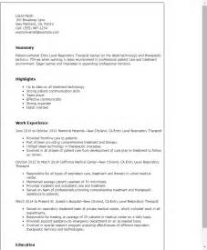 respiratory therapist resume sle professional entry level respiratory therapist templates