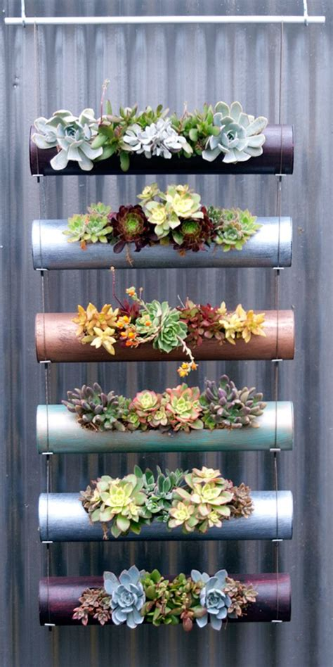 vertical succulent planters could also probably use pvc