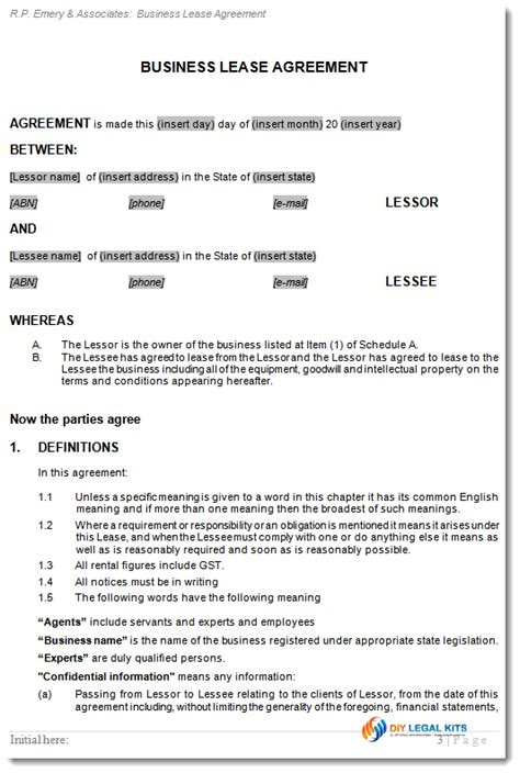 business lease template business lease agreement sle images
