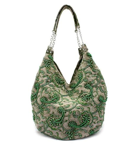 Handmade Shoulder Bags - green handmade shoulder bag linen beaded handbag