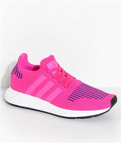 adidas youth run shock pink white shoes zumiez