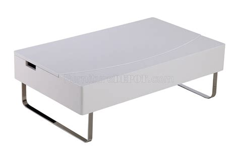bay coffee table in high gloss white w storage by whiteline
