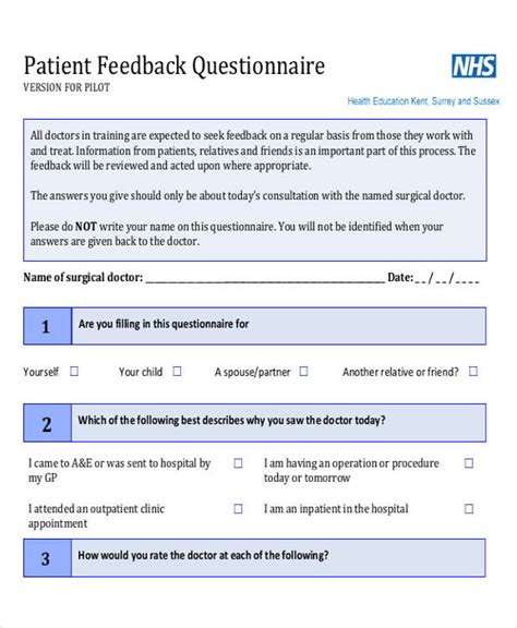 feedback questionnaire template 8 feedback questionnaire exles sles