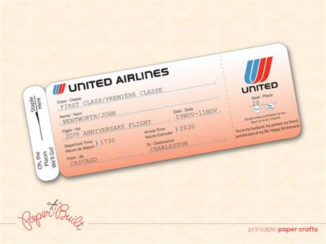 plane ticket template for gift printable united airlines style airline ticket boarding