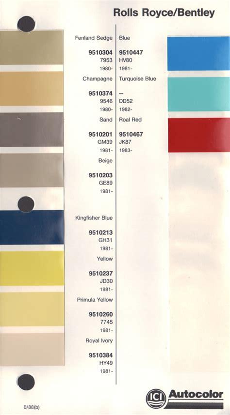 1980s colors paint chips 1985 rolls royce