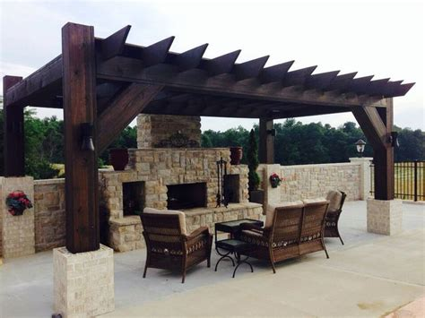 pergola and outdoor fireplace for the home