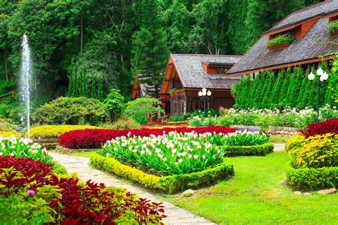 colorful wallpaper home houses with beautiful flower gardens full hd wallpaper and