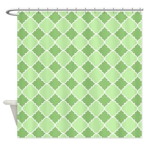 green and white shower curtain green and white quatrefoil design shower curtain by