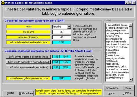 programma calcolo calorie alimenti mensa software per la redazione di menu per una dieta