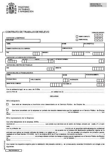 contrato general de empleo descargue plantillas de modelos contrato de trabajo temporal de relevo modelo
