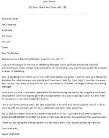 Advertising Manager Cover Letter by Marketing Manager Cover Letter Exle Icover Org Uk