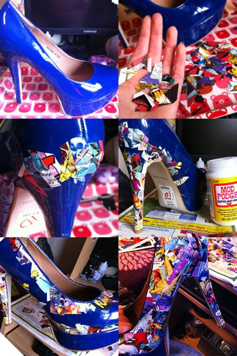diy mod podge shoes comic book shoes diy alldaychic