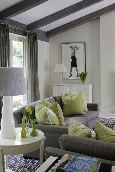 sitting area lime green accent pillows interiordesign
