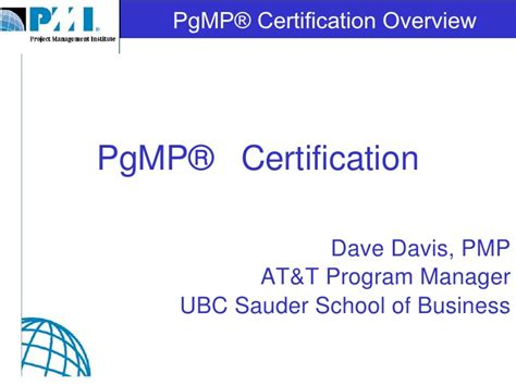 Ubc Mba Login by Pgmp Certification Overview
