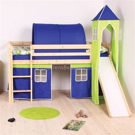 Bunk Beds With Tents And Slides Tent Beds Perth Pine Mid Sleeper Bed With Play Tent Slide Childrensbeds4all For The
