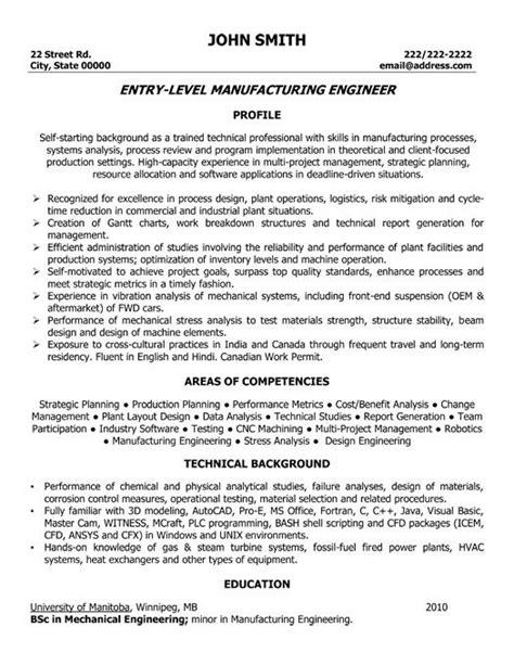 manufacturing engineering resume