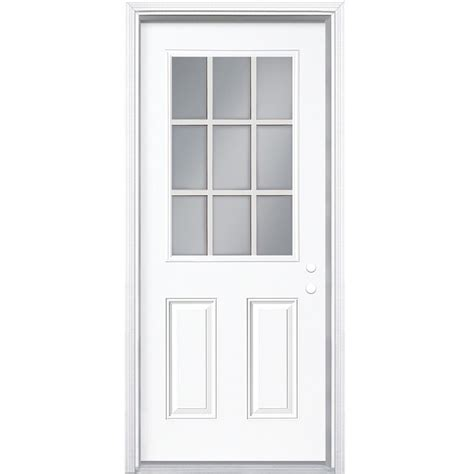 Masonite Exterior Doors Prices Shop Masonite 2 Panel Insulating 9 Lite Left Inswing Steel Primed Prehung For Use With