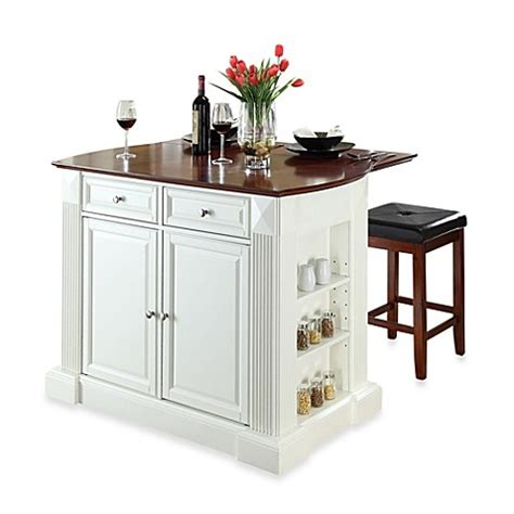 White Kitchen Island With Drop Leaf Buy Crosley Drop Leaf Breakfast Bar Top Kitchen Island In White With Cherry Square Seat Stools