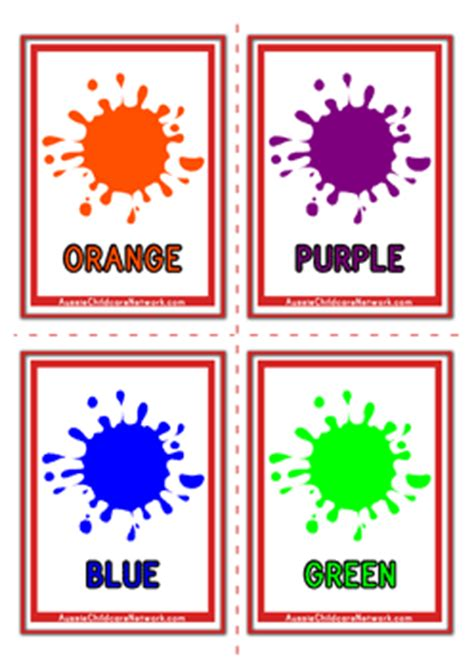 flash card maker colors colours flashcards paint drops aussie childcare network