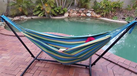 Quality Hammocks Free Standing Teal Blue Canvas Hammock With Fixed Stand Ebay