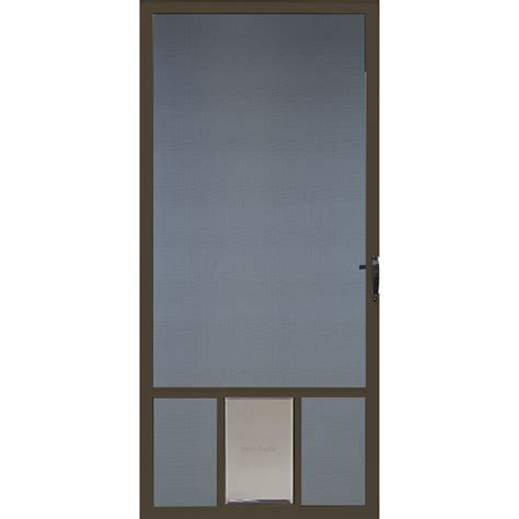 door for screen door shop comfort bilt brown vinyl hinged screen door with pet door common 36 in x 81 in