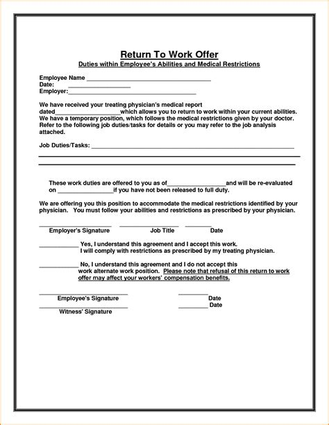 return to work notice template 12 sle doctor note to return to work writable calendar