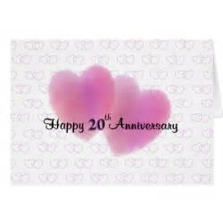 2 hearts happy 20th anniversary greeting card zazzle