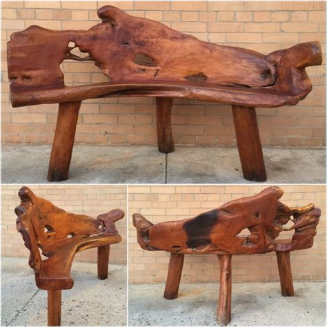 wood tree bench burl teak root carved wood bench live edge wood by