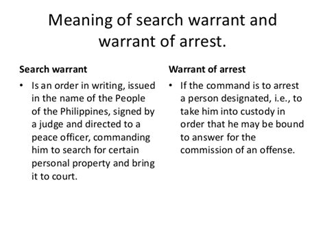 Meaning Of Search Warrant And Warrant Of Arrest Article Iii Section 2 Bill Of Rights