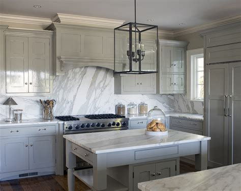 White And Grey Marble Countertops by Glossy Gray Cabinets With White Marble Top Transitional