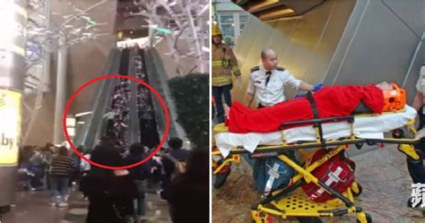 Causes Chaos At The Mall by Escalator In Hong Kong Malfunctions Causes Injury