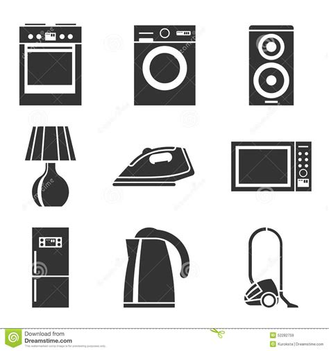 Microwave Kettle Toaster Set Set Of Household Appliances Silhouette Icons Stock Vector
