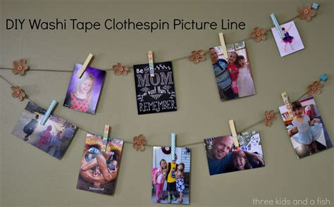 diy washi diy washi tape clothespin picture line three kids and a fish
