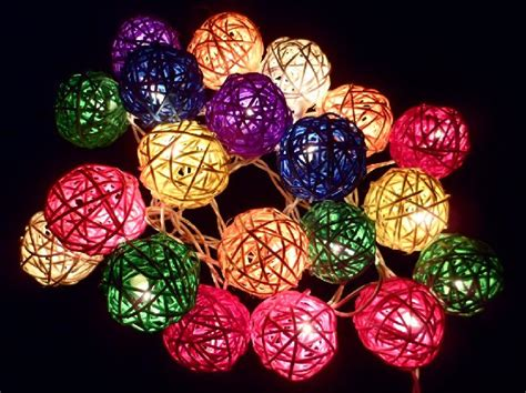 Colored Patio String Lights by 20pcs Multi Color Handmade Rattan Balls String Lights