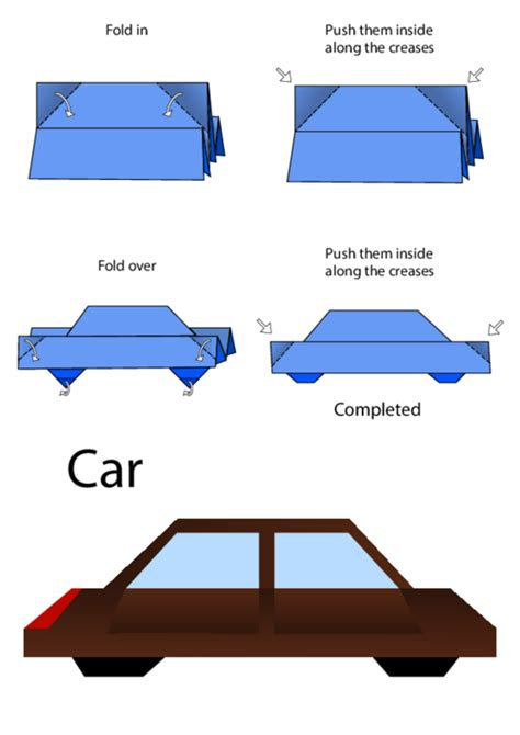 Car Origami - how to make an origami car kidspressmagazine