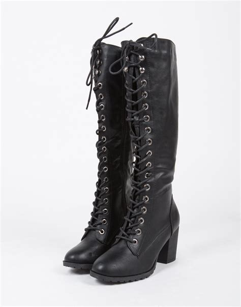 lace up boots lace up boots black boots knee high boots