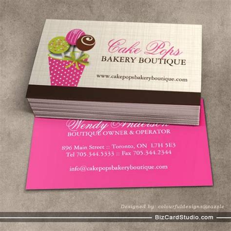 business card template for a bakery cake pops business cards